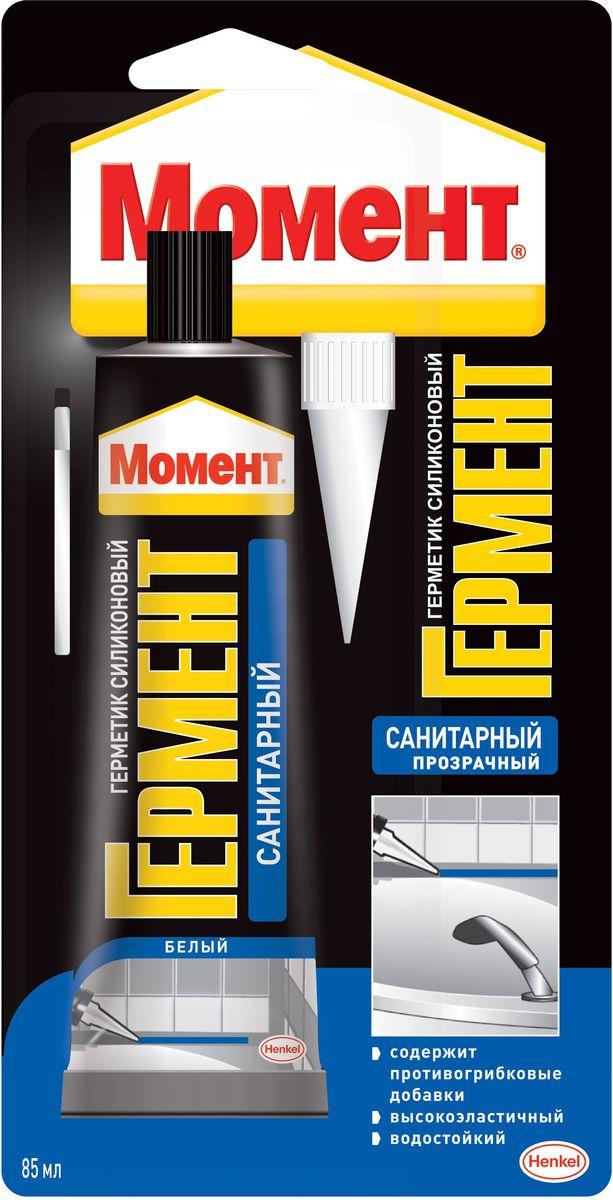 Герметик силиконовый Момент Гермент, санитарный, 85 мл герметик силиконовый момент гермент санитарный цвет прозрачный 280 мл