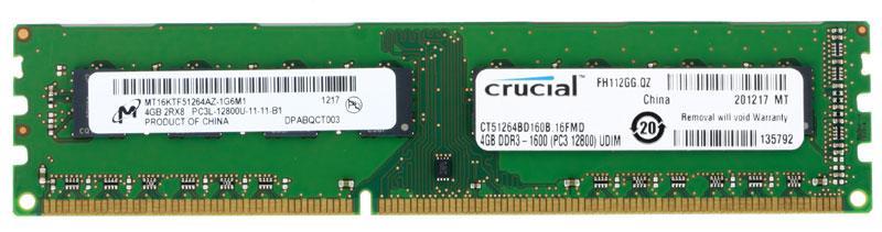 Модуль оперативной памяти Crucial DDR3 4GB 1600МГц