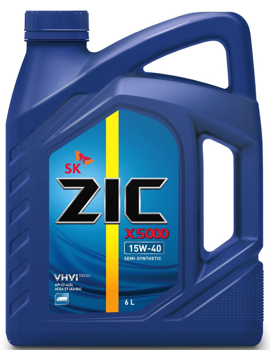 Масло моторное ZIC X5000, полусинтетическое, класс вязкости 15W-40, API CI-4/SL, 6 л. 172604