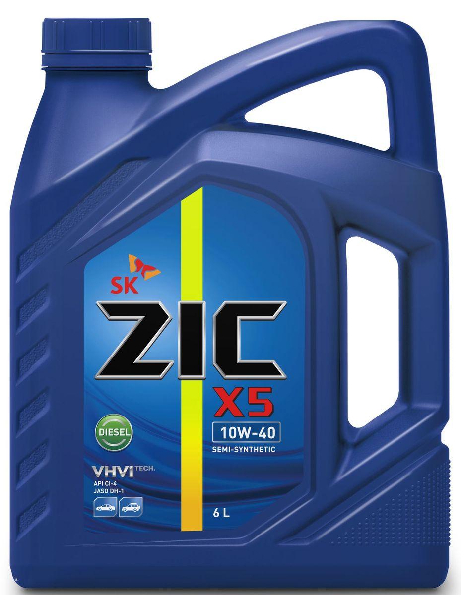 Масло моторное ZIC X5 Diesel, полусинтетическое, класс вязкости 10W-40, API CI-4, 6 л моторное масло mannol diesel extra 10w 40 для дизельных двигателей 5 л полусинтетическое
