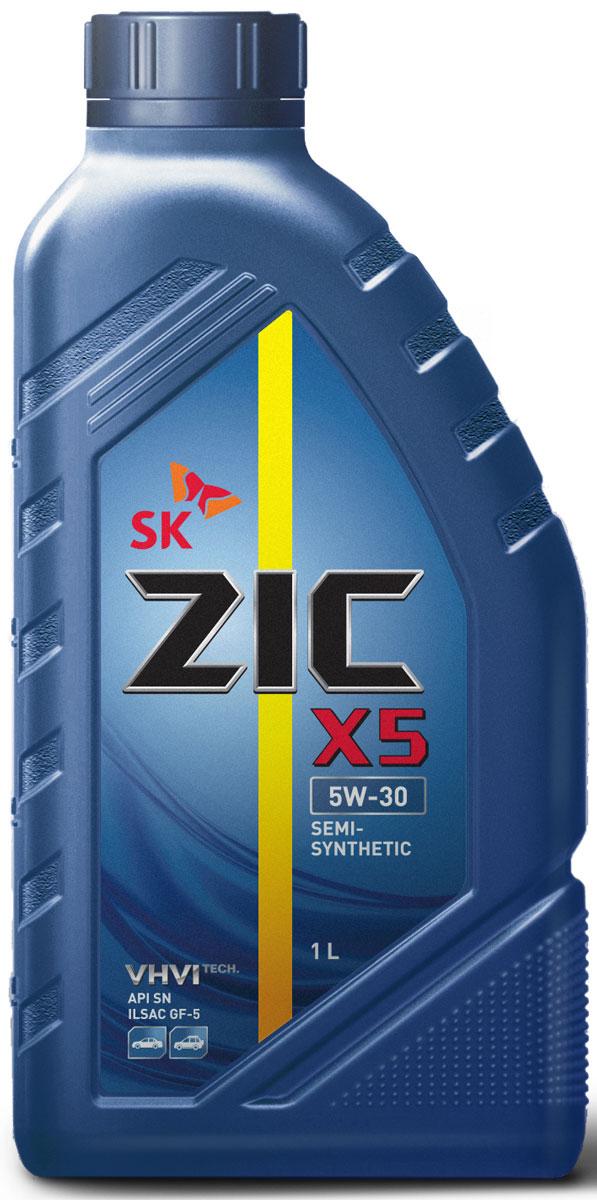 Масло моторное ZIC X5, полусинтетическое, класс вязкости 5W-30, API SN, 1 л