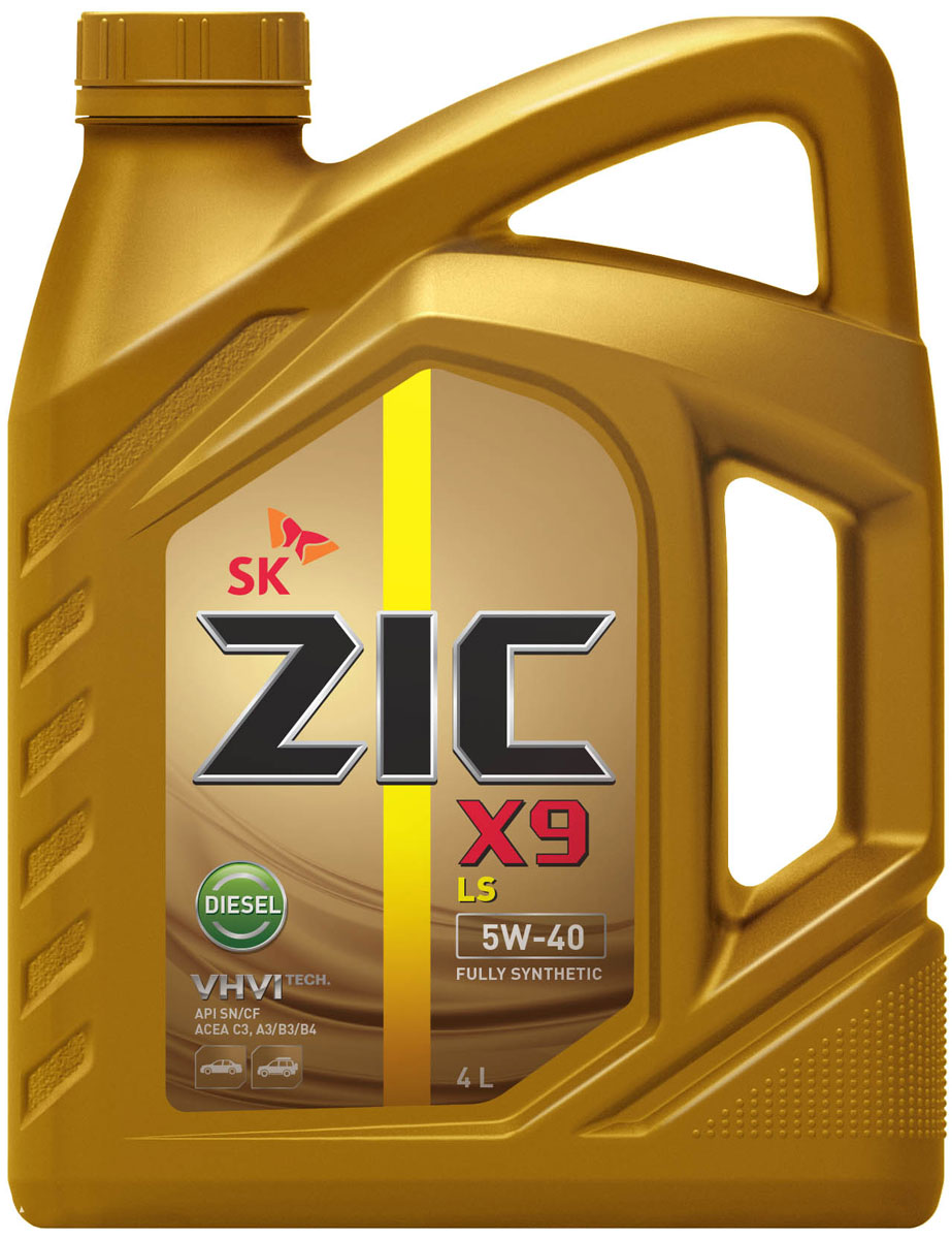 "Масло моторное ZIC ""X9 LS Diesel"", синтетическое, класс вязкости 5W-40, API SN/CF, 4 л. 162609"