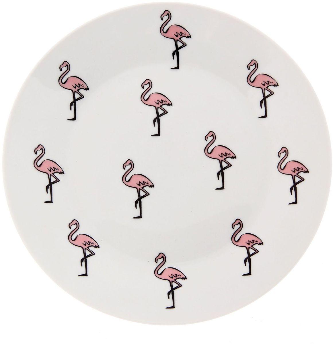 Тарелка мелкая Сотвори чудо Розовый фламинго, диаметр 20 см тарелка сотвори чудо киска диаметр 23 см