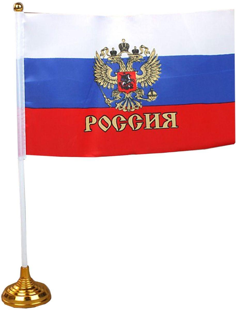 цена на Флаг Sima-land Россия. Герб, со штоком, 14 х 21 см