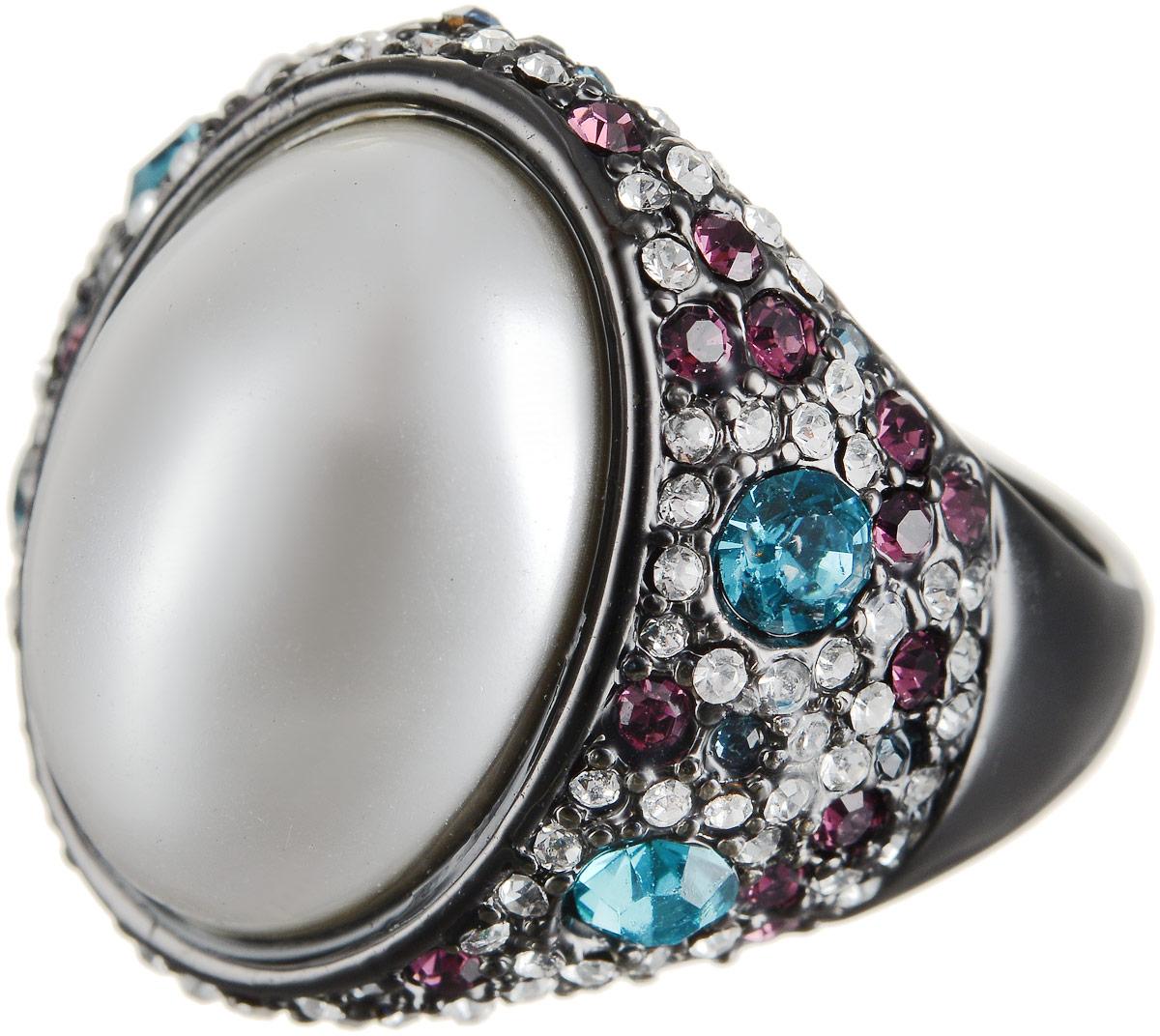 Кольцо Art-Silver, цвет: черный, перламутровый. 066079-601-1202. Размер 17,5 кольцо art silver цвет черный зеленый розовый 810998 802 1114 размер 17