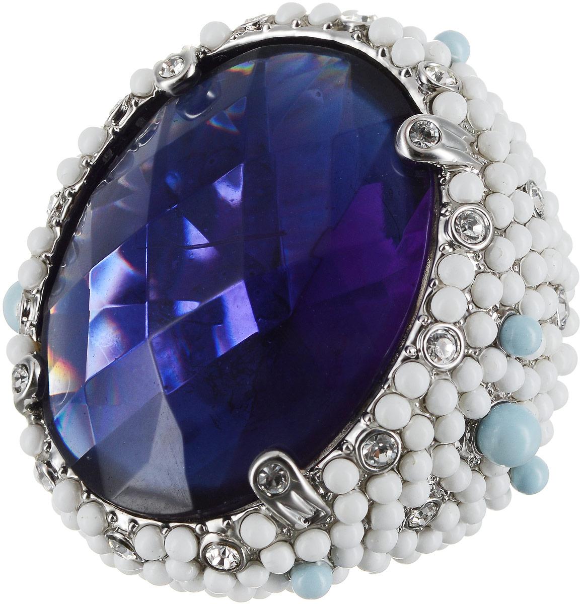 Кольцо Art-Silver, цвет: серебряный, синий, белый. 428-2106. Размер 19 серьги art silver цвет серебряный 27958 577