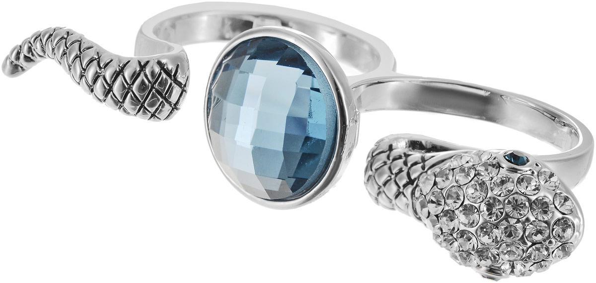 Кольцо на два пальца Art-Silver, цвет: серебряный, голубой. 02028-1067. Размер 18 серьги art silver цвет серебряный 27958 577