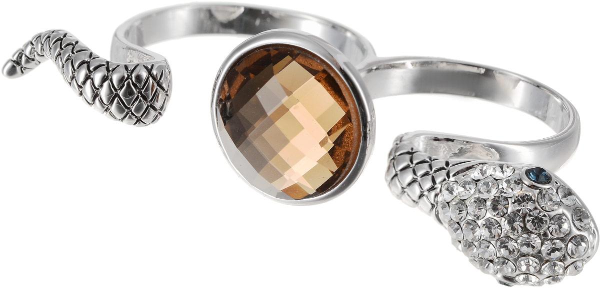 Кольцо на два пальца Art-Silver, цвет: серебряный, бежевый. 02029-1-1116. Размер 18 серьги art silver цвет серебряный 27958 577
