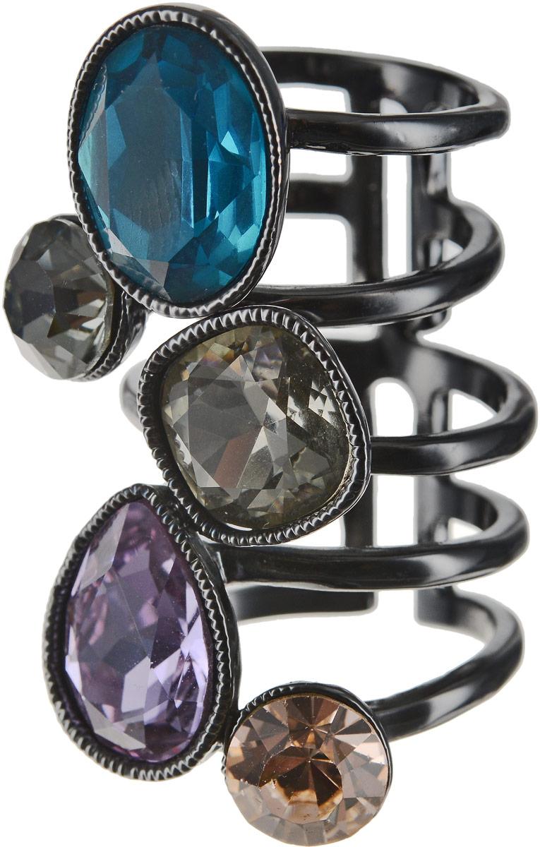 Кольцо Art-Silver, цвет: черный, синий, фиолетовый. 054912-1-1290. Размер 16,5 кольцо art silver цвет черный зеленый розовый 810998 802 1114 размер 17