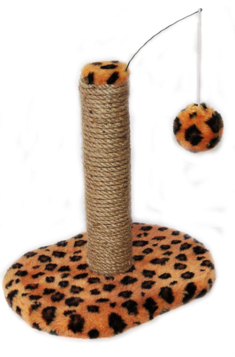 Когтеточка для котят Меридиан Леопардовая, на подставке, 30 х 24 х 35 см когтеточка triol на подставке цвет темно синий молочный 46 х 30 см