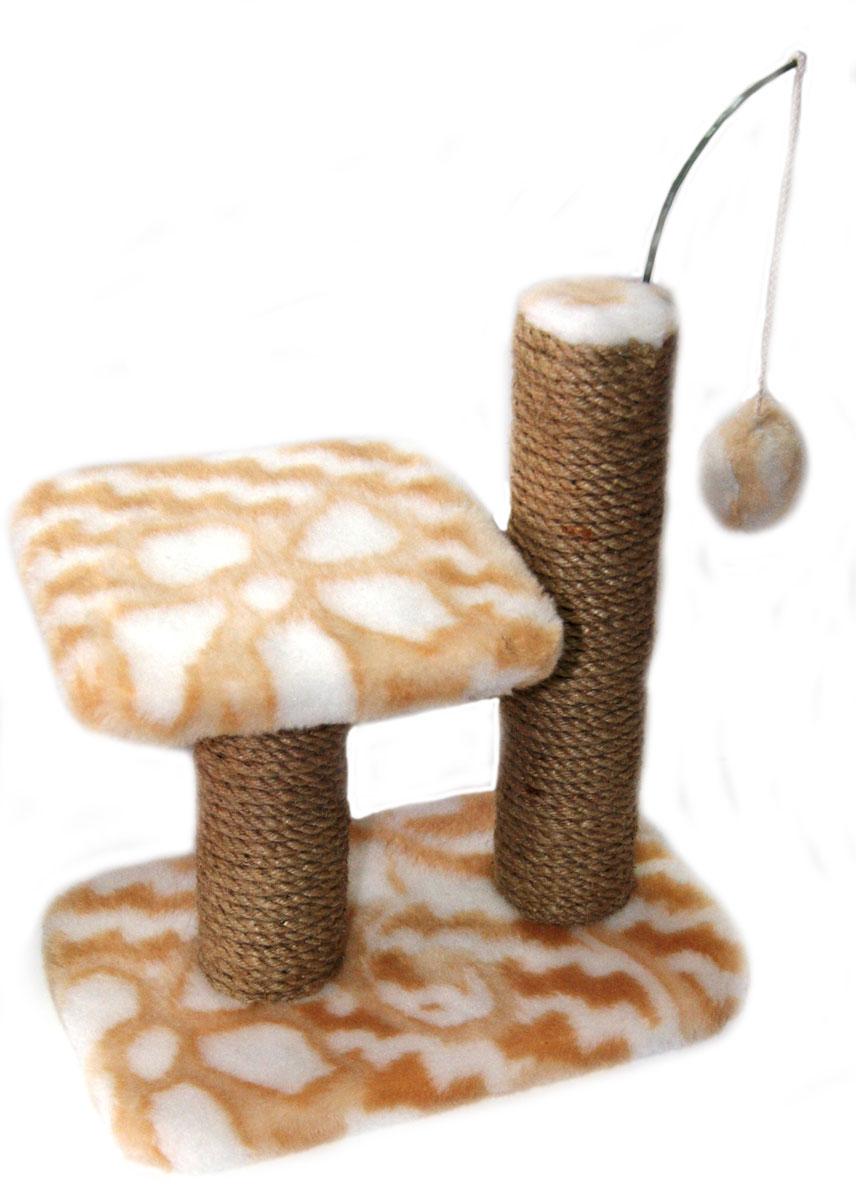 Когтеточка для котят Меридиан Цветы, двойная, цвет: белый, светло-коричневый, 30 х 20 х 34 см когтеточка для котят меридиан цветы двойная цвет белый светло коричневый 30 х 20 х 34 см