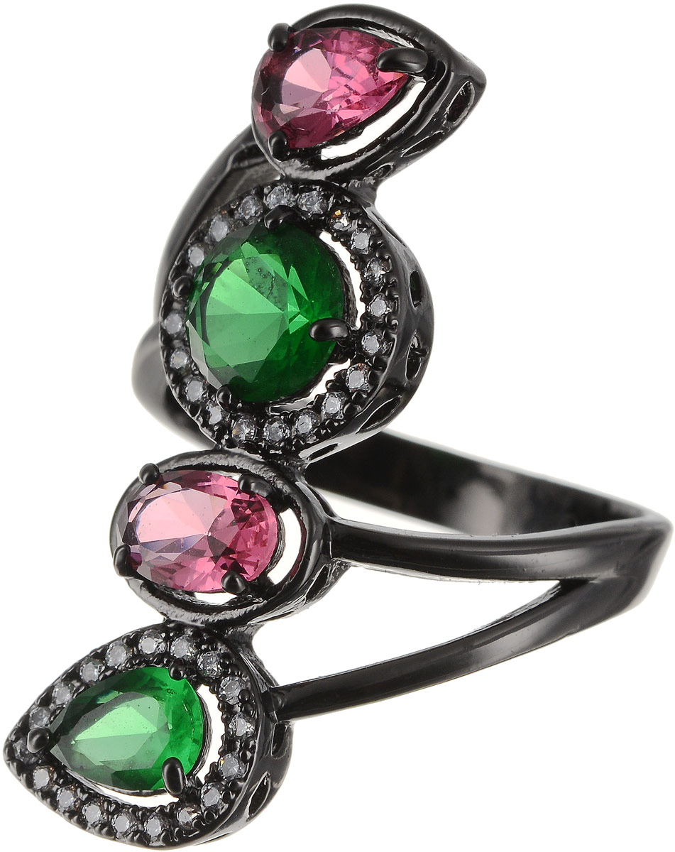 Кольцо Art-Silver, цвет: черный, зеленый, розовый. 810998-802-1114. Размер 18 кольцо art silver цвет черный зеленый розовый 810998 802 1114 размер 17