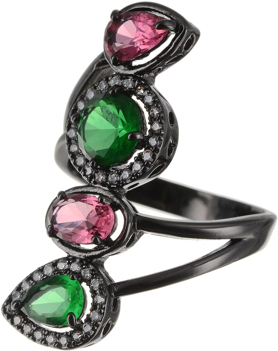 Кольцо Art-Silver, цвет: черный, зеленый, розовый. 810998-802-1114. Размер 16,5 кольцо art silver цвет черный зеленый розовый 810998 802 1114 размер 17