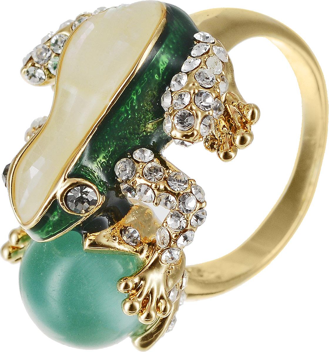 Кольцо Art-Silver, цвет: золотой, зеленый. 055R-1283. Размер 17,5 кольцо art silver цвет черный зеленый розовый 810998 802 1114 размер 17