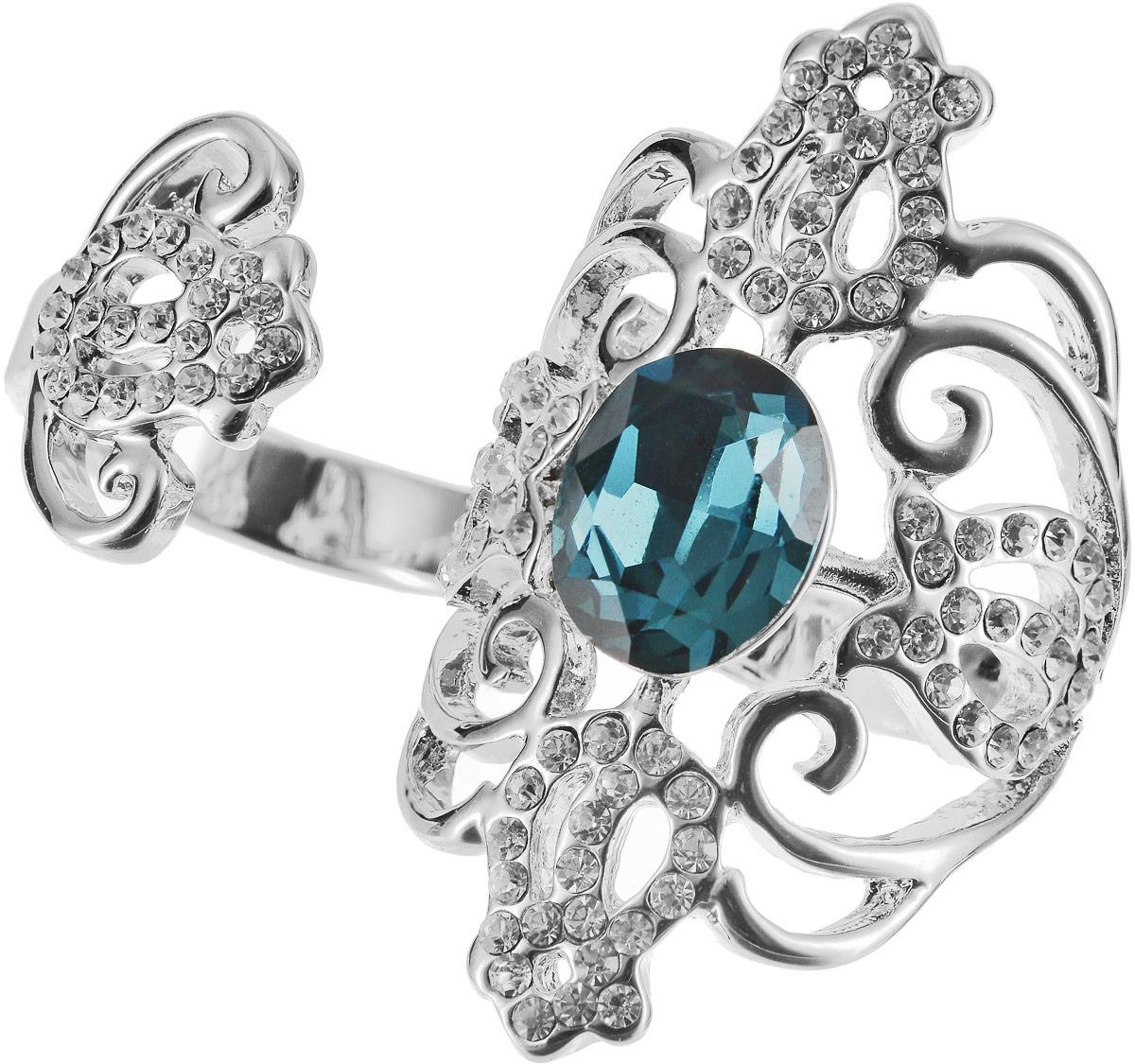 Кольцо на два пальца Art-Silver, цвет: серебряный, бирюзовый. 06816-1319. Размер 17,5 серьги art silver цвет серебряный 27958 577