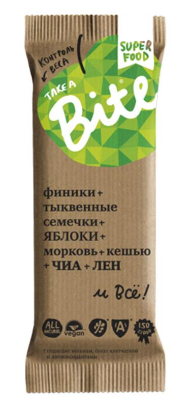 Take A Bite Морковь-Кешью Контроль веса батончик фруктово-ореховый, 45 г батончик take a bite фруктово ореховый арахис банан спорт 30 г