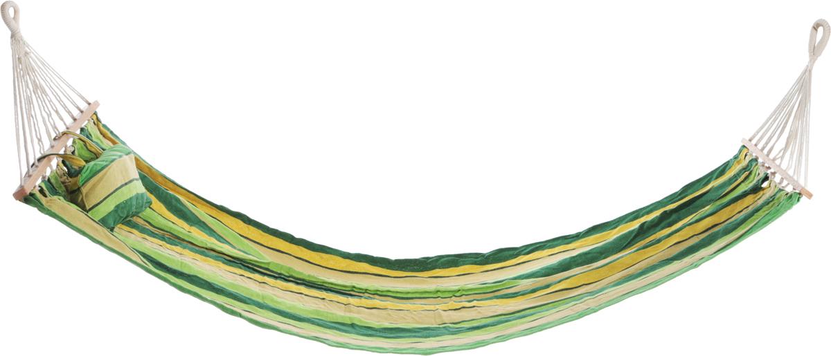 """Гамак Boyscout """"Комфорт"""" с деревянными направляющими, цвет: зеленый, желтый, 200 х 90 см"""