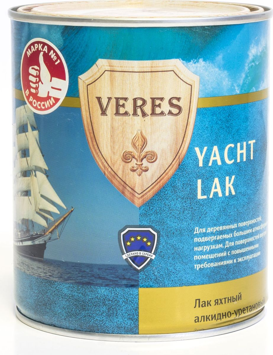 Лак алкидный яхтный Veres, полуматовый, 0,75 л лак яхтный рогнеда eurotex полуматовый 10л