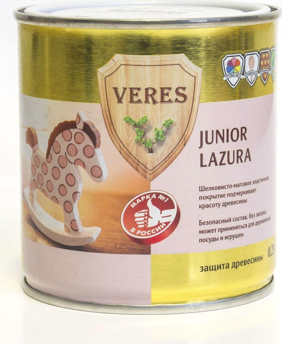 Пропитка тонирующая для дерева Veres Junior Lazura, цвет: лимонный (25), 0,25 л8606006543798Тонирующая пропитка для дерева Veres Junior Lazura - высокоэффективная шелковисто-матовая декоративно-защитная лессирующая пропитка, предназначенная для наружных и внутренних работ, в том числе для детских, игровых комнат, спален, а также детской мебели, игрушек, деревянной посуды, для деревянных поверхностей, соприкасающихся с продуктами питания. Пропитка готова к применению, легко наносится и быстро впитывается в поверхность древесины, не оставляя потеков. Экологически безопасна. Образует шелковисто-матовую эластичную паропроницаемую пленку с высокими декоративными и защитными свойствами. Благодаря светостойким транспарентным нано-пигментам подчеркивает естественную красоту натуральной древесины. Интенсивность цвета готового покрытия зависит от вида древесины, качества обработки и количества нанесенных слоев. Покрытие сохраняет свои декоративные свойства до 10 лет. Рекомендуется для внутренних работ, в том числе для детских комнат, мебели, деревянных игрушек и посуды.Товар сертифицирован.