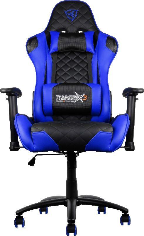 ThunderX3 TGC12, Black Blue профессиональное геймерское креслоTGC12-BBПрофессиональное геймерское кресло ThunderX3 TX3-12, имеющее уникальный дизайн, - это абсолютный комфорт в течение всего дня. Особенности: Прочная металлическая основа. Мягкий кожзам. Тип механизма бабочка. Пневматическая регулировка высоты сиденья. Угол раскачивания 3° - 18°. 50 мм нейлоновые колесики. Регулируемый подголовник. Подушка под шею. Регулирование положения сиденья с фиксацией. Угол наклона спинки 3° - 18°. Крупногабаритный товар.