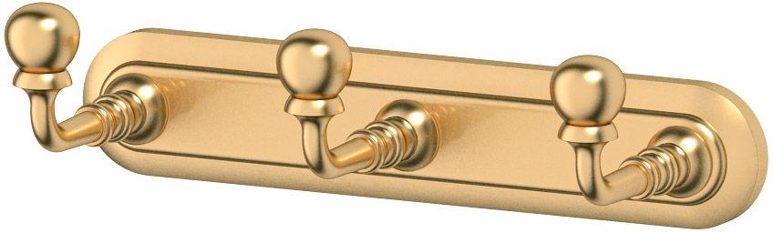 "Планка с тремя крючками 3SC ""Stilmar"", цвет: матовое золото. STI 302"