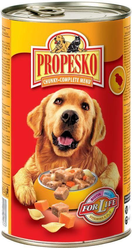 """Консервы для собак """"Propesko"""", с курицей, пастой и морковью, 1,24 кг"""