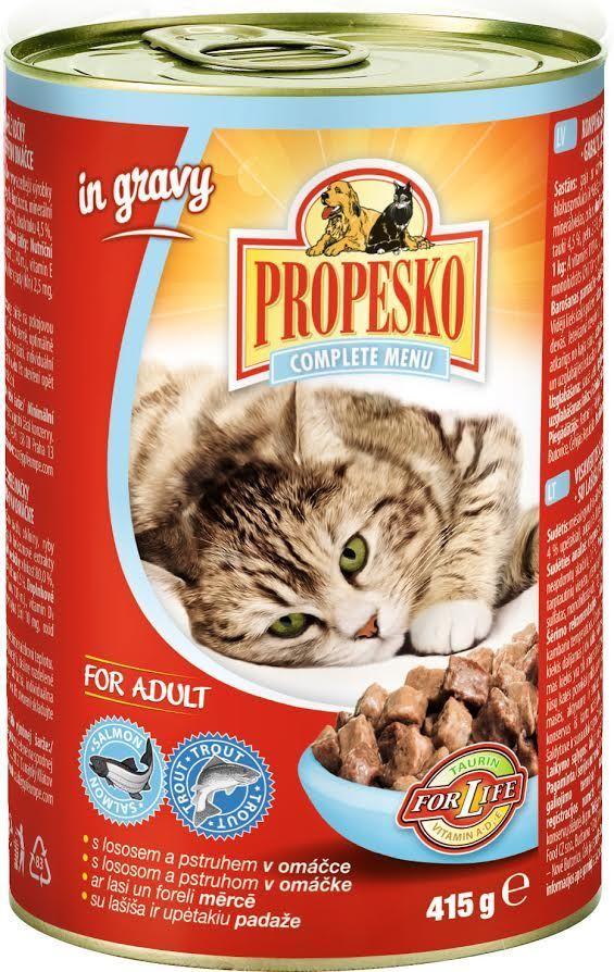 """Консервы для кошек """"Propesko"""", с лососем и форелью в соусе, 415 г"""