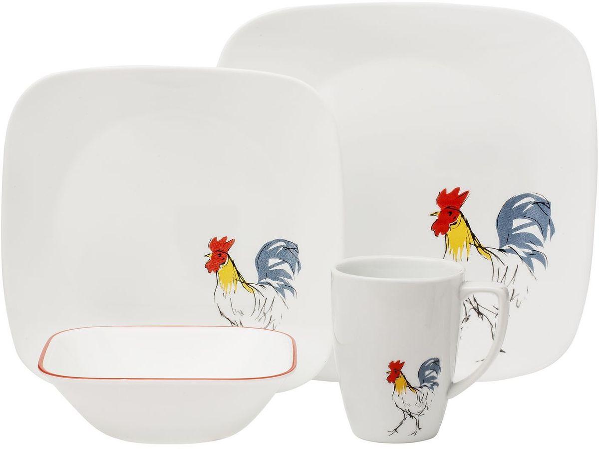 Набор посуды Corelle Country Dawn, цвет: белый, 16 предметов. 1119413 corelle тарелка закусочная woodland leaves 22 см 1109568 corelle