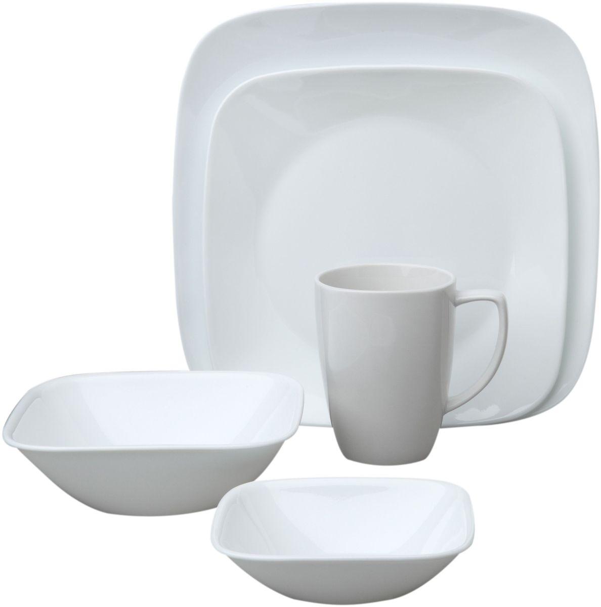 Набор посуды Corelle Pure White, цвет: белый, 16 предметов. 106995877.858@27325Коллекция Corelle Square - очень прочная стеклянная посуда квадратной формы с округленными краями и круглой внутренней частью для удобного использования. Посуда такой оригинальной формы подойдет и для ежедневного использования и для праздников. Серия посуды Corelle Square Pure White - это новая форма американской классики. Дизайн посуды создан студией Levien of London. Набор посуды Pure White состоит из: -тарелка обеденная, 26 см - 4 шт; -тарелка закусочная, 22 см - 4 шт; -тарелка суповая, 650 мл - 4 шт; -кружка, 350 мл - 4 шт.