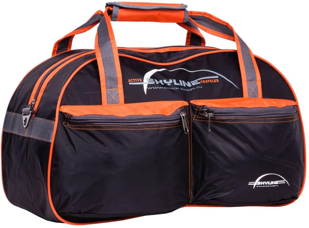 Сумка спортивная Polar Скайлайн, цвет: черный, 53 л. П05/6 сумка спортивная polar п05 6 черно серый серая стропа скайлайн