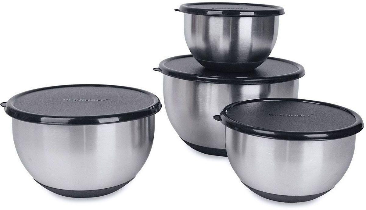 Набор мисок BergHOFF Geminis, с крышками, нескользящее резиновое дно, 8 шт. 11062511106251Набор BergHOFF Geminis состоит из 4 мисок, выполненных из нержавеющей стали. Изделия снабжены пластиковыми крышками. Миски имеют разный размер, они могут использоваться для различных нужд на кухне: приготовления, хранения и сервировки. Плотно закрывающиеся крышки делают их также удобными для транспортировки еды. Нескользящее дно из термопластичной резины обеспечивает их устойчивость на рабочей поверхности или столе. Набор можно мыть в посудомоечной машине и использовать для хранения пищи в холодильнике. Диаметр мисок (по верхнему краю): 16 см; 18 см; 20 см; 24 см. Рекомендуем!
