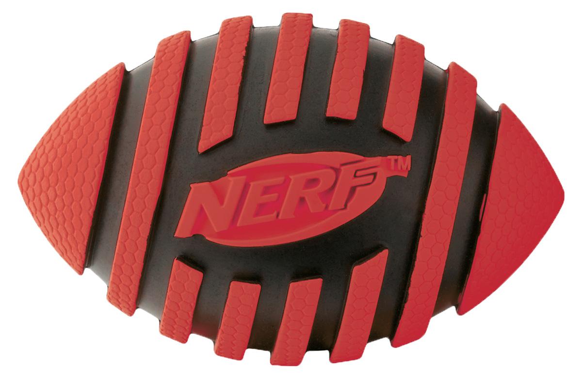 Игрушка для собак Nerf Мяч для регби, с пищалкой, цвет: красный, черный, 12,5 см игрушка для собак nerf булава с пищалкой 17 5 см