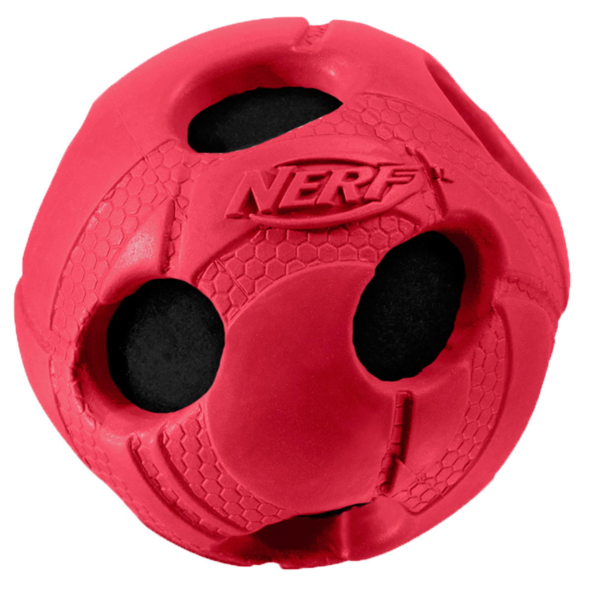 Игрушка для собак Nerf Мяч, с отверстиями, цвет: красный, 5 см