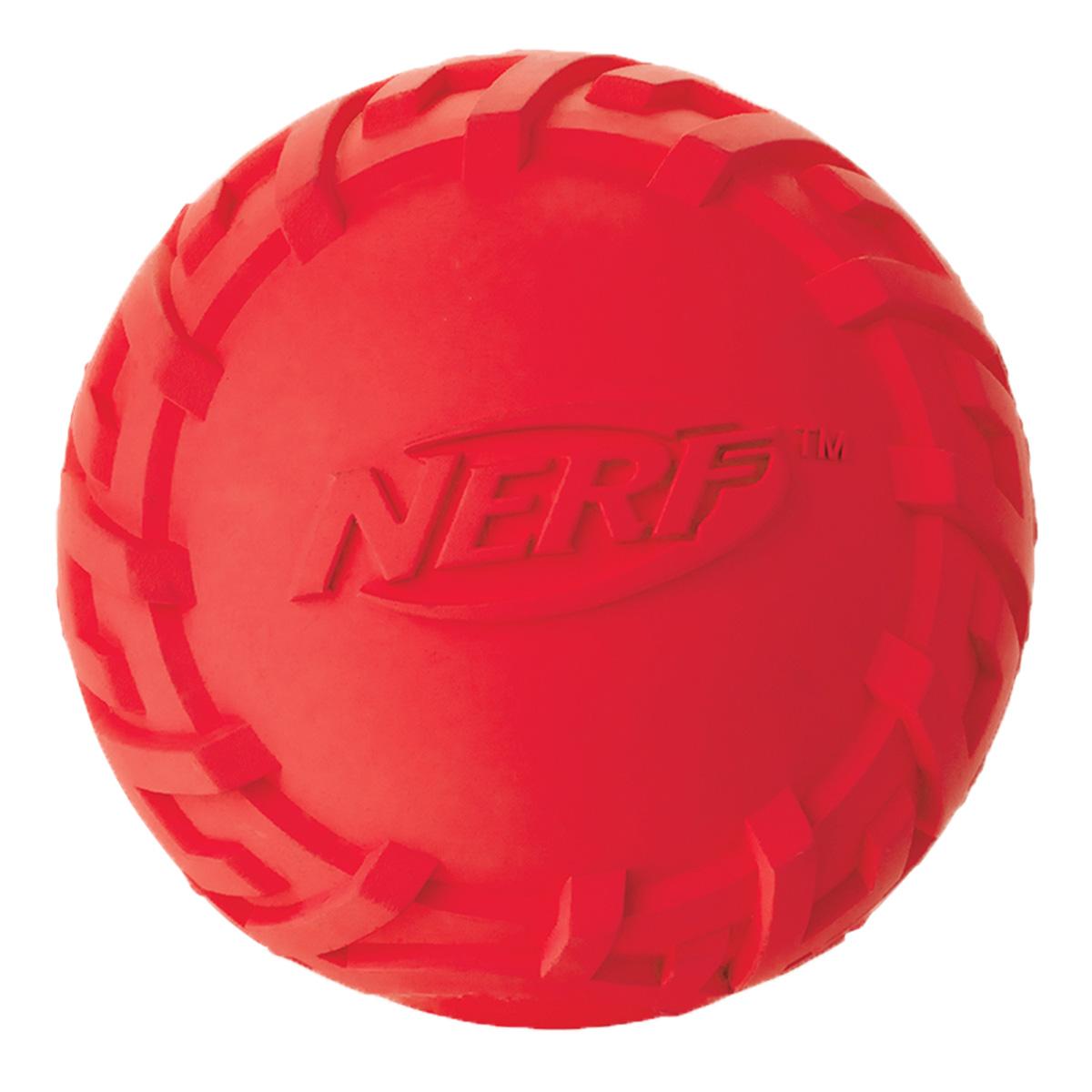 Игрушка для собак Nerf Мяч резиновый, с пищалкой, цвет: красный, диаметр 7,5 см игрушка для собак nerf булава с пищалкой 17 5 см