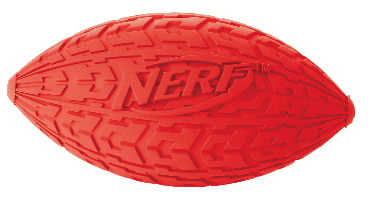 Мяч для собак Nerf Регби, с пищалкой, цвет: красный, 10 см игрушка для собак nerf булава с пищалкой 17 5 см