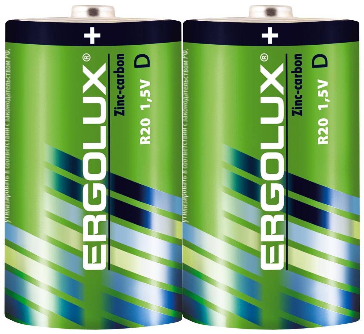 Батарейка Ergolux R20 SR2 батарейка аккумуляторная ergolux nimh тип аа 1500 mah