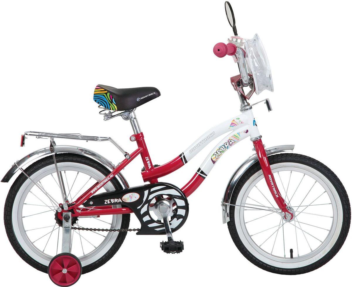 Велосипед детский Novatrack Зебра, цвет: красный, белый, 16