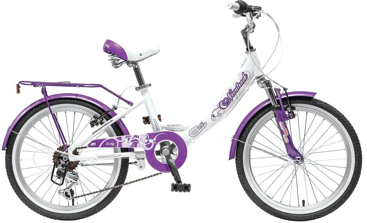 Велосипед детский Novatrack Girlish Line, цвет: белый, сиреневый, 20 велосипед novatrack girlish line 20 2016 бело фиолетовый