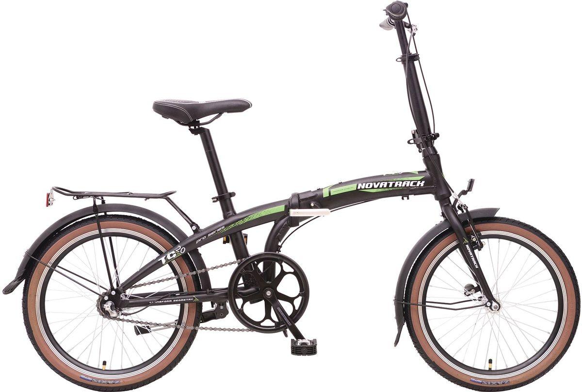 Велосипед складной Novatrack TG-20, цвет: черный, белый, зеленый, 20