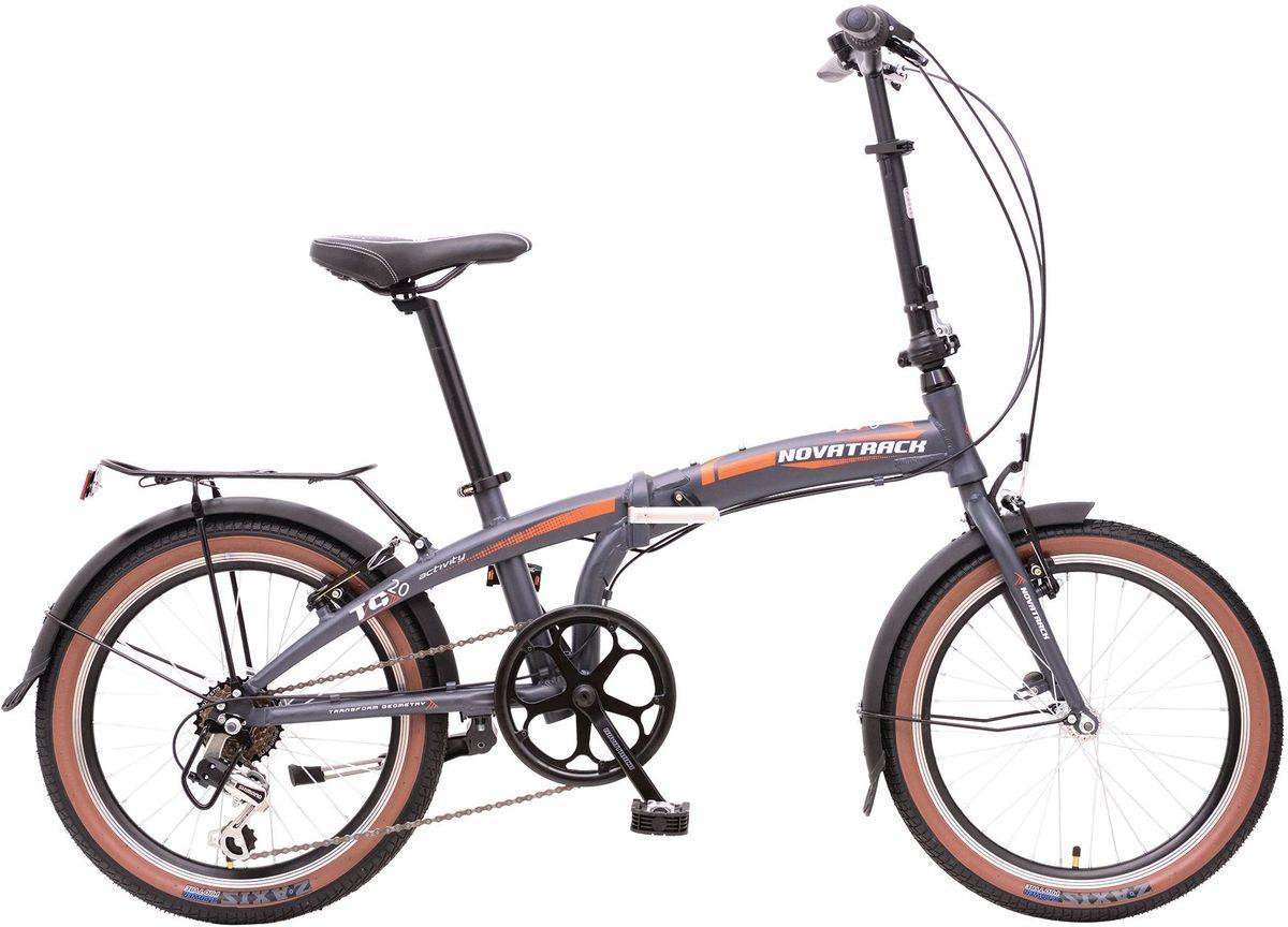 Велосипед складной Novatrack TG-20, цвет: темно-серый, белый, оранжевый, 20