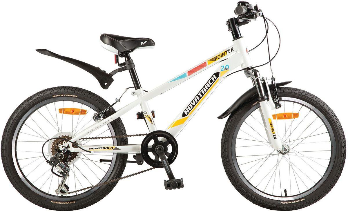 Велосипед детский Novatrack Pointer, цвет: белый, желтый, 20