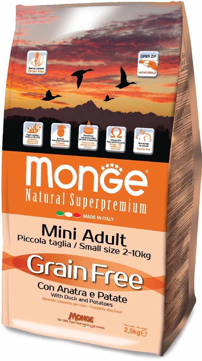 """Корм сухой Monge """"Dog Grain Free Mini"""", для собак мелких пород, беззерновой, с уткой и картофелем, 2,5 кг"""