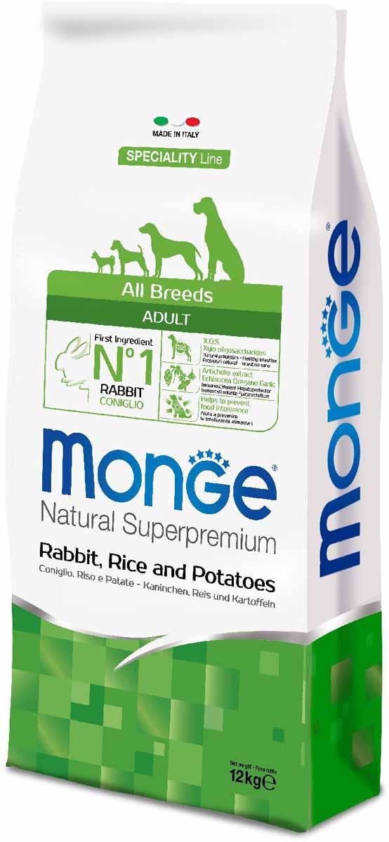 """Корм сухой Monge """"Dog Speciality"""", для собак всех пород, с кроликом, рисом и картофелем, 12 кг"""