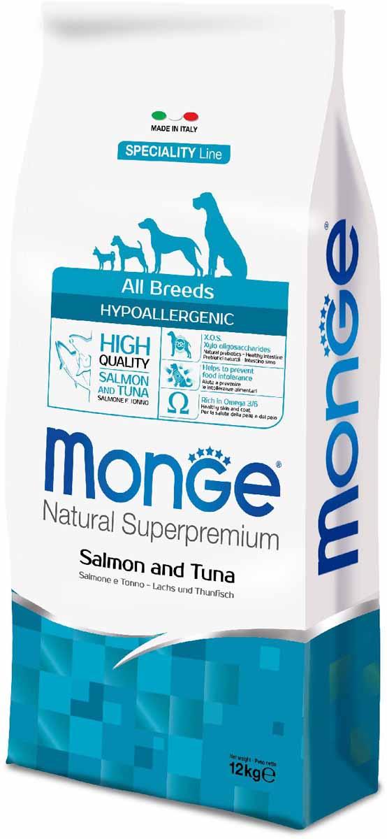 """Корм сухой Monge """"Dog Speciality Hypoallergenic"""", для собак, гипоаллергенный, с лососем и тунцом, 12 кг"""