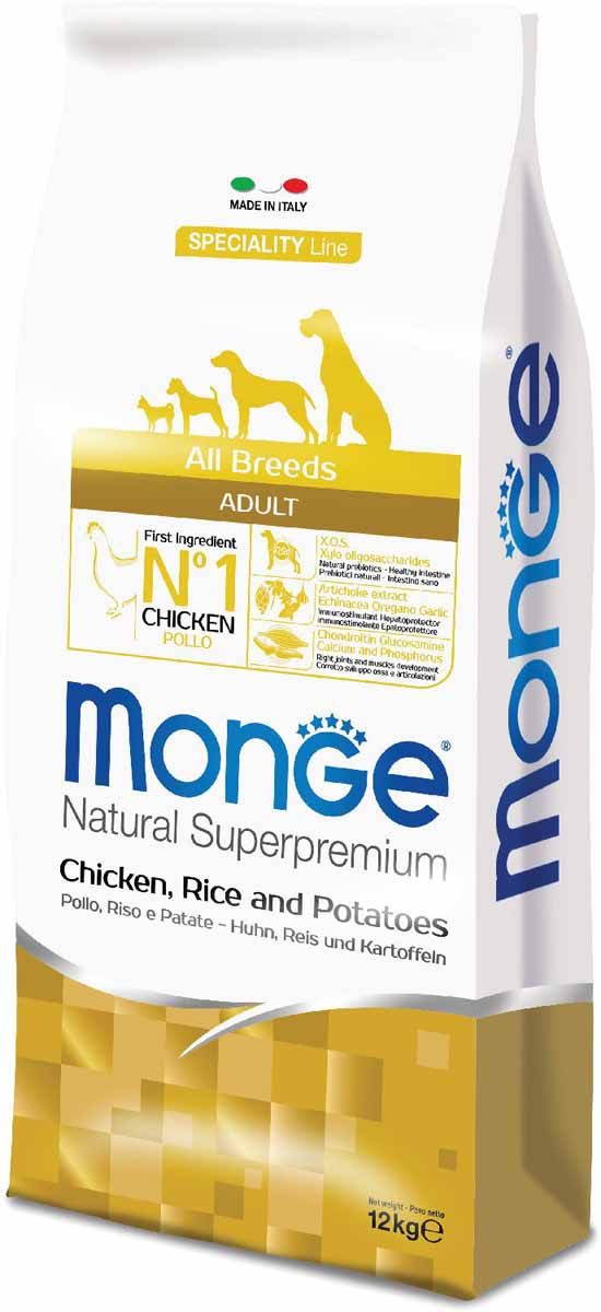 """Корм сухой Monge """"Dog Speciality"""", для собак всех пород, с курицей, рисом и картофелем, 12 кг"""