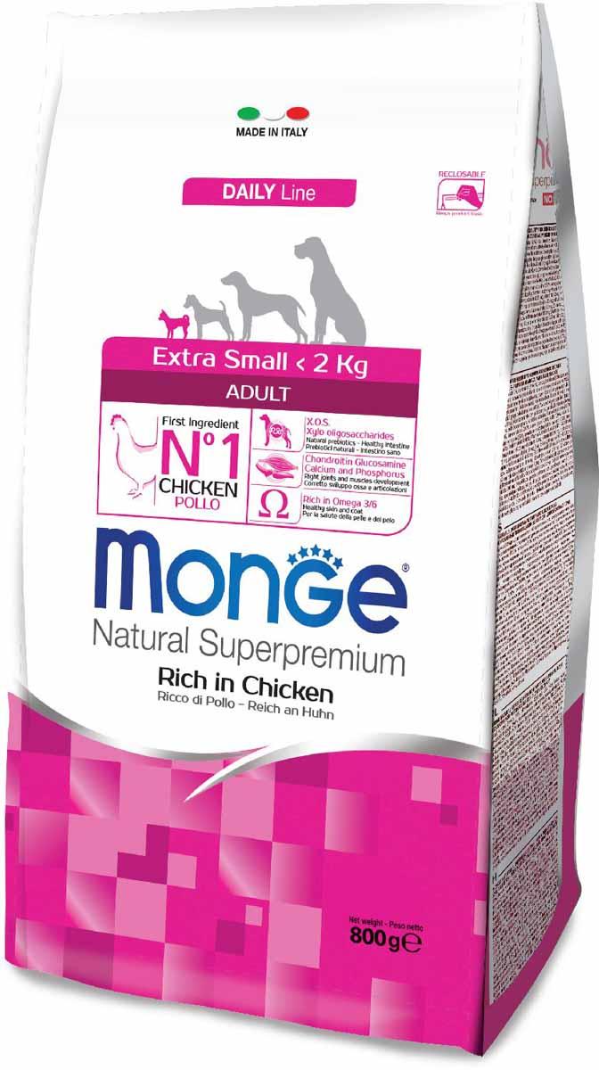 """Корм сухой Monge """"Dog Extra Small"""", для взрослых собак миниатюрных пород, с курицей, 800 г"""