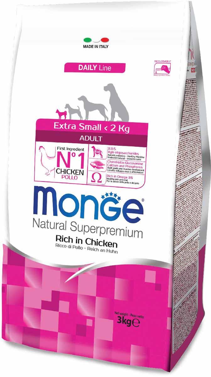 """Корм сухой Monge """"Dog Extra Small"""", для взрослых собак миниатюрных пород, с курицей, 3 кг"""