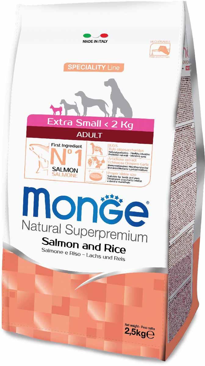 """Корм сухой Monge """"Dog Speciality Extra Small"""", для взрослых собак миниатюрных пород, с лососем и рисом, 2,5 кг"""