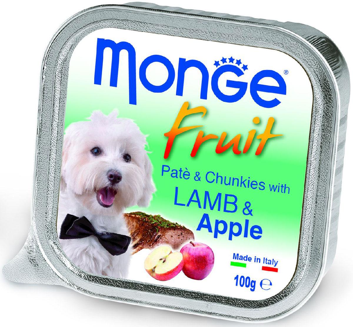 """Консервы Monge """"Dog Fruit"""", для собак, с ягненком и яблоком, 100 г"""