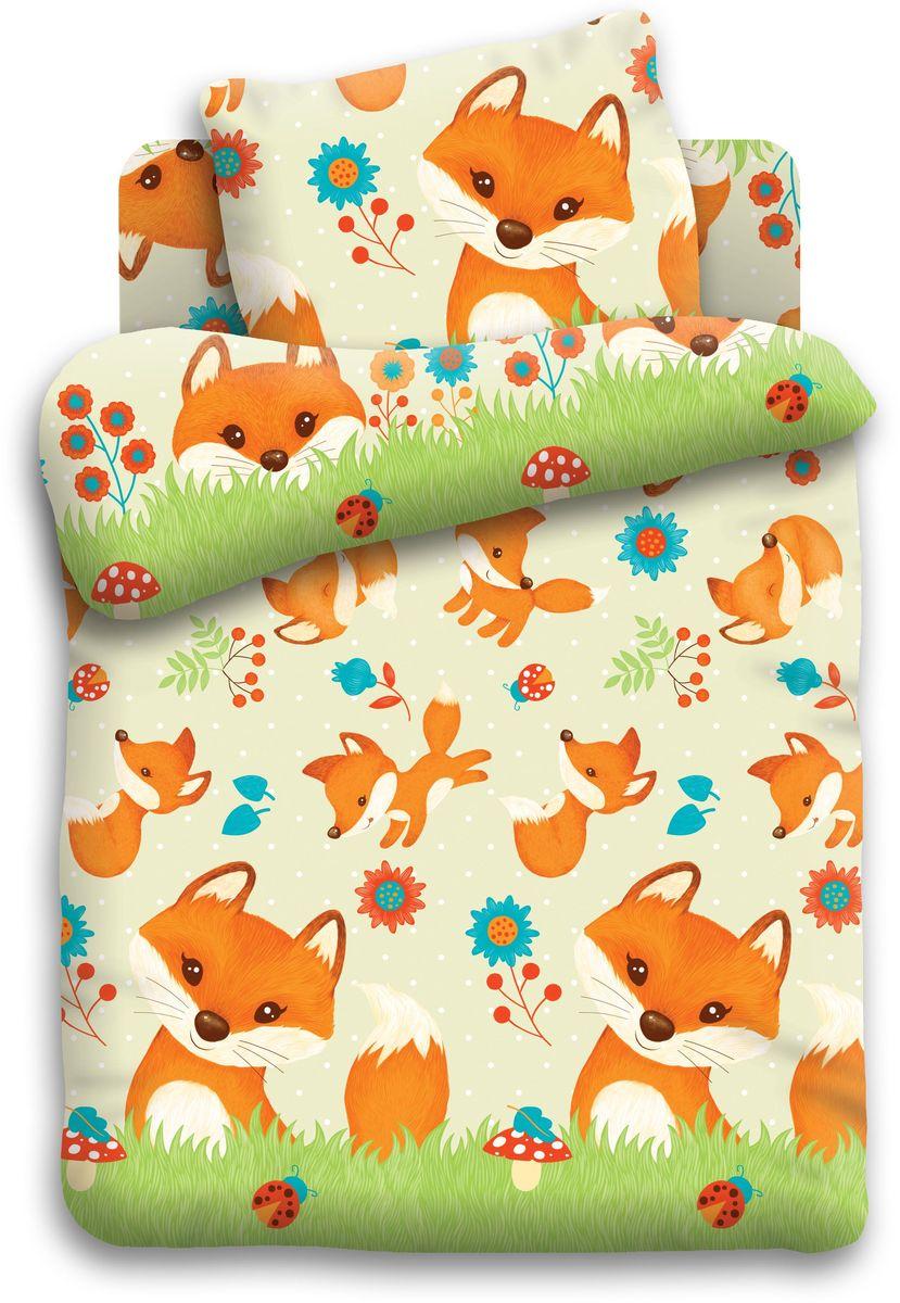 все цены на Кошки-мышки Комплект детского постельного белья Лисята цвет зеленый 3 предмета онлайн